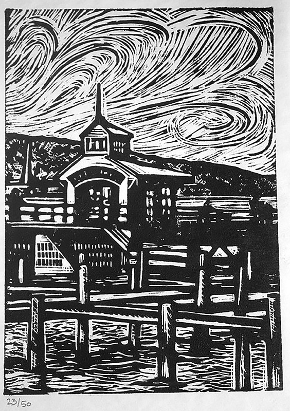 "Cynthia Cratsley ""The Pier at Watkins Glen"" 8x6 linocut $125. Inquire"