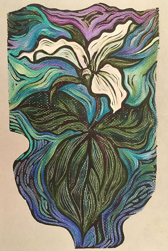 "Cynthia Cratsley ""Trillium"" 10x6 linocut w/ colored pencil $225. Inquire"