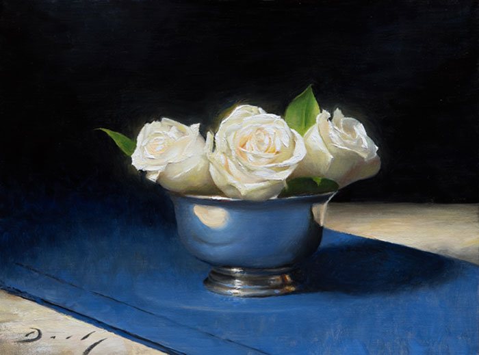 "Joseph Q. Daily ""New Year's Roses"" 12x16 oil $1,300."