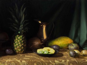 "Joseph Q. Daily ""Still Life with Sliced Pineapple"" 18x24 oil $2,700."