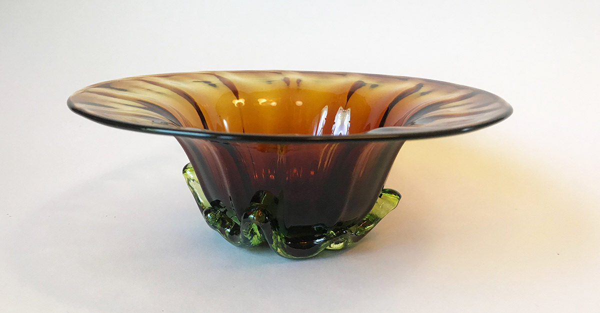 "Ross Delano ""Sissy Flower Bowl"" (Amber) approx. 5""x3"" blown glass $60."