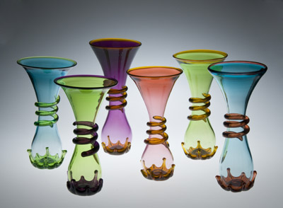 "Ross Delano ""Trumpet Vases"" 12""-14"" H $125. each Inquire"