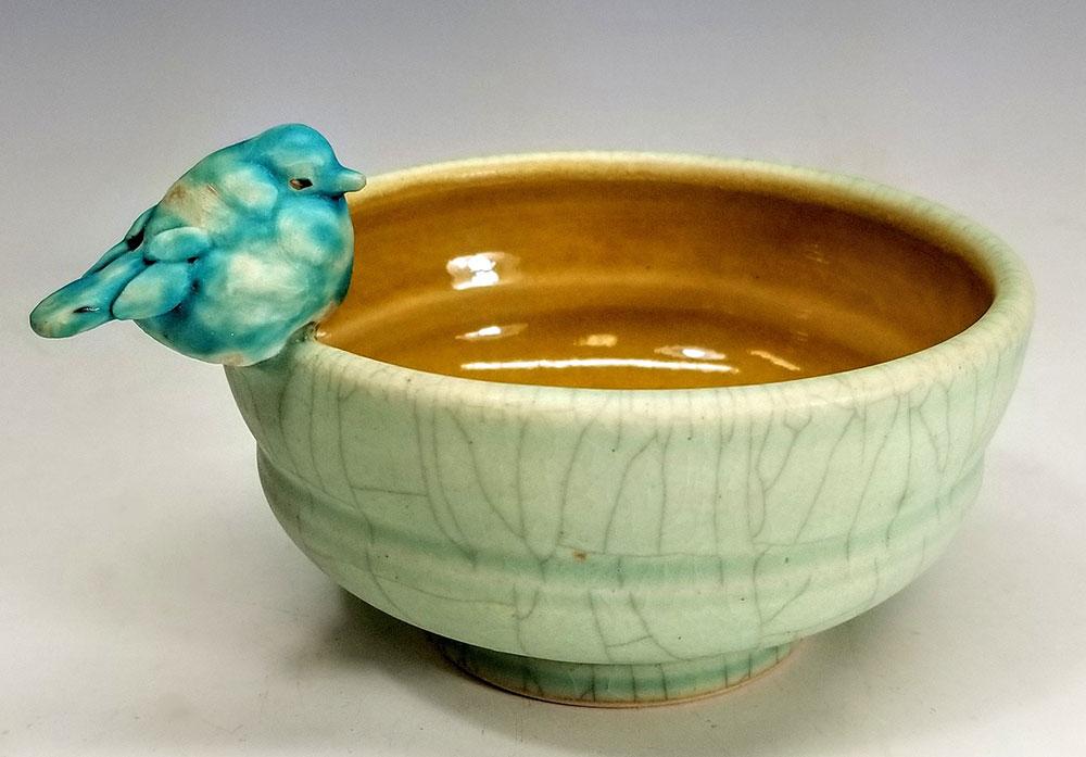 """Carolyn Dilcher-Stutz """"Green Bird Bowl"""" Inquire"""