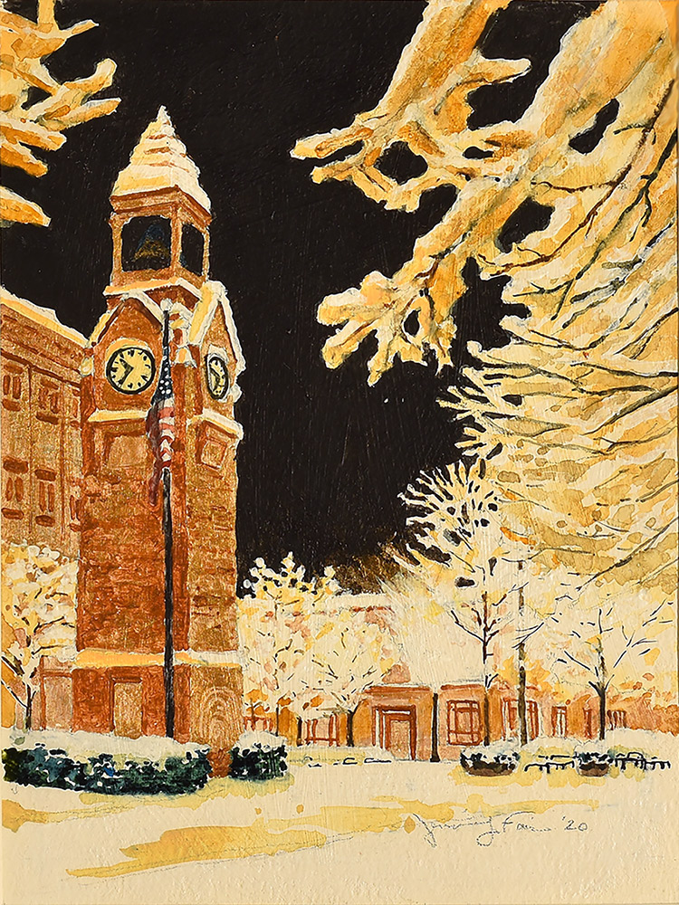 """Jennifer Fais """"Clock Tower in Snow"""" 7.5x5.5 watercolor/acrylic $225. SOLD"""