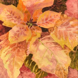 "Jennifer Fais ""Gold Poinsettia on Mars"" 5x5 watercolor on marbleized paper $160."