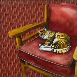 """Jennifer Fais """"Happy as a Clam: Calico"""" 7.5x7.5 encaustic/watercolor $260."""