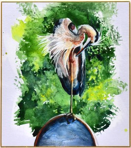 "Jennifer Fais ""Heron: On Dish"" 10x9 watercolor/acrylic on Japanese board $350."