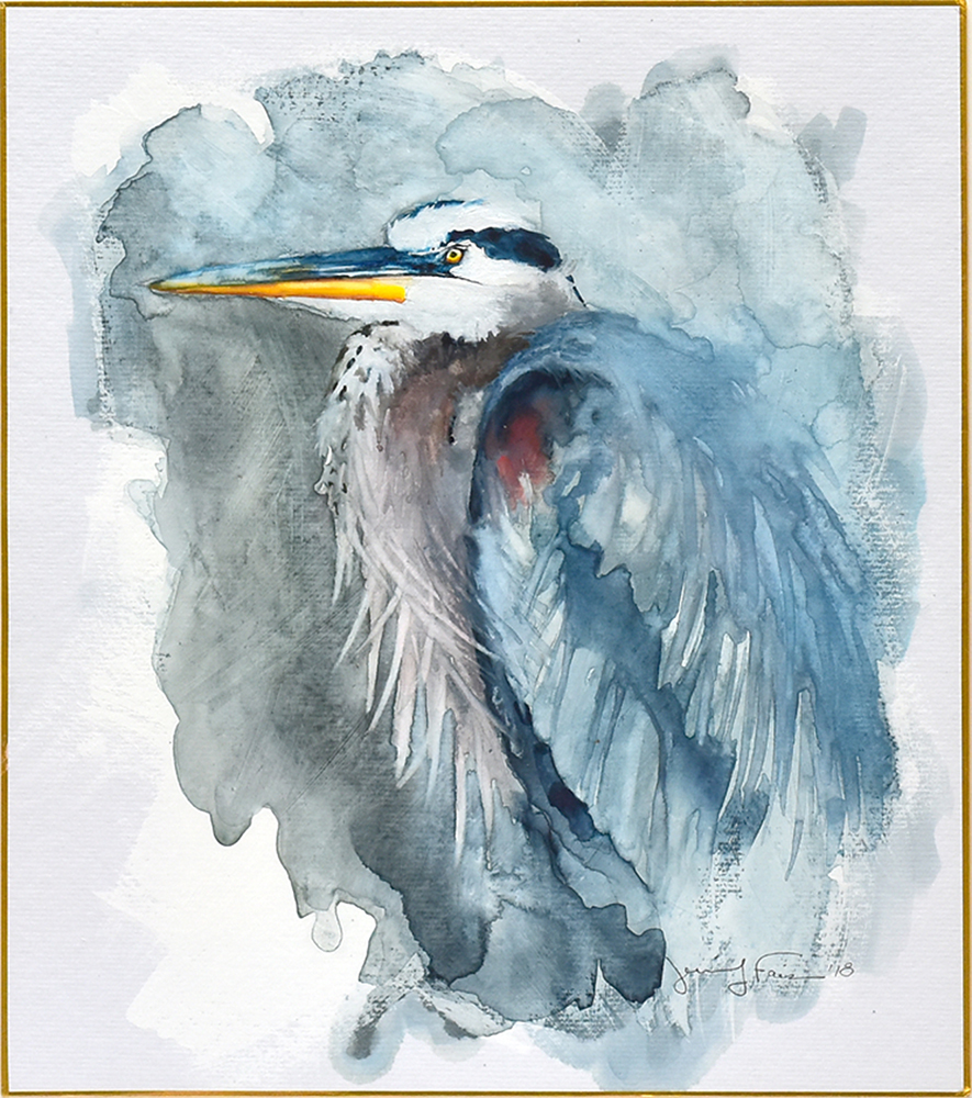 "Jennifer Fais ""Heron: In Reverie"" 10x9 watercolor/acrylic on Japanese board $350."