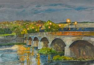 "Jennifer Fais ""Moods of Centerway: Rainy Night"" 12x17 watercolor/acrylic $480."