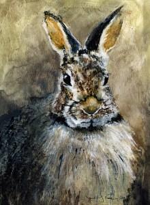"Jennifer Fais ""Portrait in Umber"" 7.5x5.5 watercolor/acrylic $285."