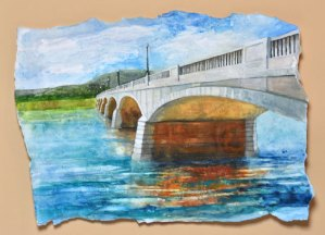 """Jennifer Fais """"River Walk View"""" 14x19 wc/acrylic $525."""