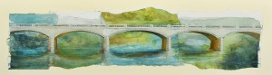 "Jennifer Fais ""Seven Spans"" 7x26 watercolor/acrylic $370. SOLD"