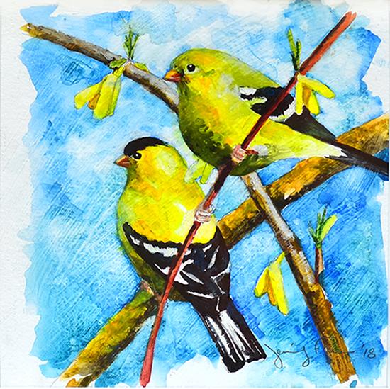 "Jennifer Fais ""Spring Fever"" 5.5x5.5 acrylic $180."