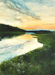 "Jennifer Fais ""Sunset Stroll"" 12x9 watercolor/acrylic $340."