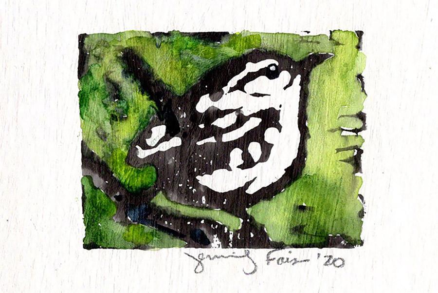 "Jennifer Fais ""Wren: Springtime"" 2x3 hand-painted block print $50."