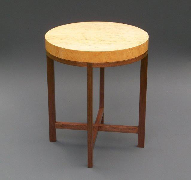 "Tracy Fiegl ""Genoa"" 18.5x18.5x22 birdseye maple veneer/walnut $850."
