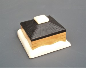 "Tracy Fiegl ""Snowdrift Box"" 6x9x9 maple, mahogany, cherry, milk paint $450."