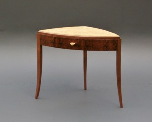 "Tracy Fiegl ""Table for August Crows"" 26.5"" h x 34""w x 21""d birdseye maple & walnut $1,695."