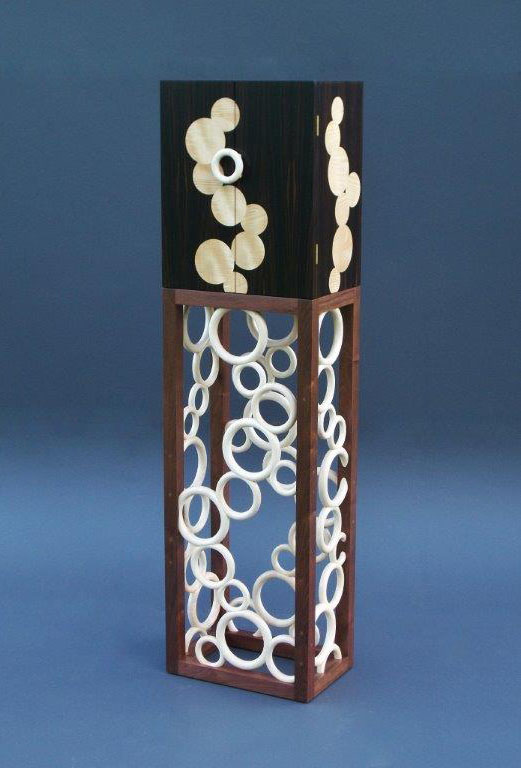"Tracy Fiegl ""Temporal Effervescence"" 66x18x12 Macassar ebony/English sycamore veneer, walnut and maple $6,000."