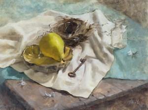 """Rebecca Finch """"The Caretaker's Empty Nest"""" 9x12 oil $575."""