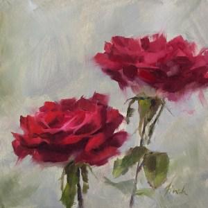 """Rebecca Finch """"Vibrant I"""" 6x6 oil $295."""