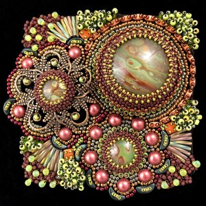 """San Fortune """"Narnia Autumn"""" (View 1: facing front) 3.5x3.5 bead embroidery $290."""