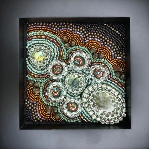 """San Fortune """"Exploration No. 4"""" 3.5""""x3.5"""" bead embroidery panel - 3 labradorite focals, all glass beads $275."""