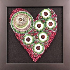 """San Fortune """"Ruby Love"""" 5.25x 4.75 bead embroidery on panel $275. SOLD"""