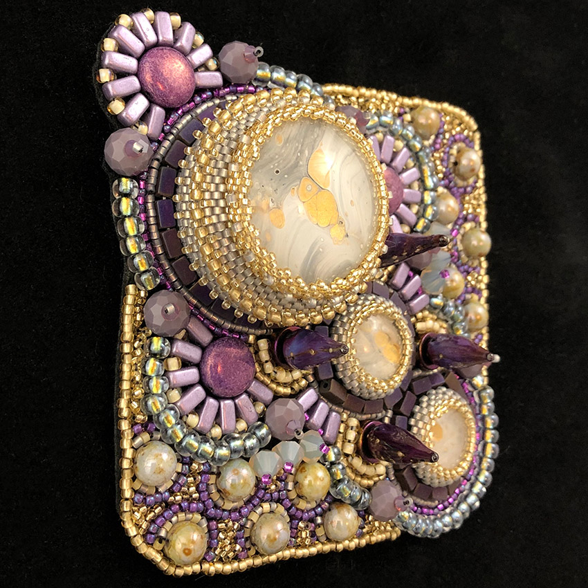 """San Fortune """"Tatooine"""" (View 2: angle) 3.5x3.5 bead embroidery $290."""