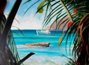 "Tom Gardner ""Afternoon Swim - St. John"" 18x24 oil $1,800."