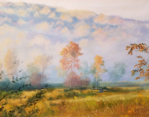 "Tom Gardner ""Autumn Fog"" 22x28 oil $2,000."