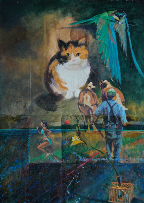 "Tom Gardner ""Cat's Eye"" 18x25 (image only) oil $1,900."