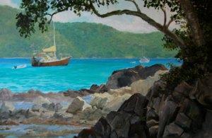"""Tom Gardner """"Hurricane Harbor St. John"""" 24x36 oil $2,600."""