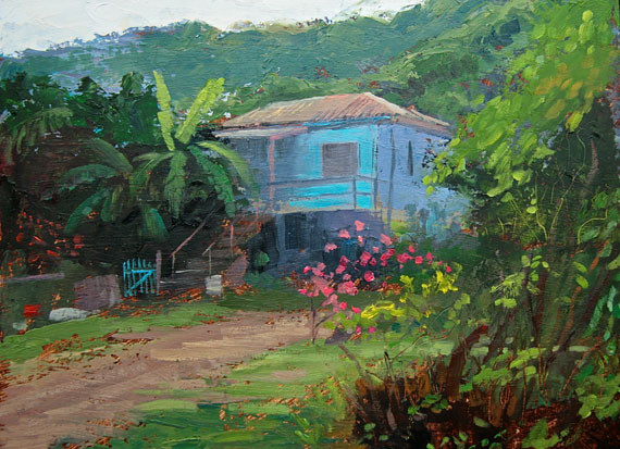 "Tom Gardner ""Island House St. John"" 9x12 oil $900."