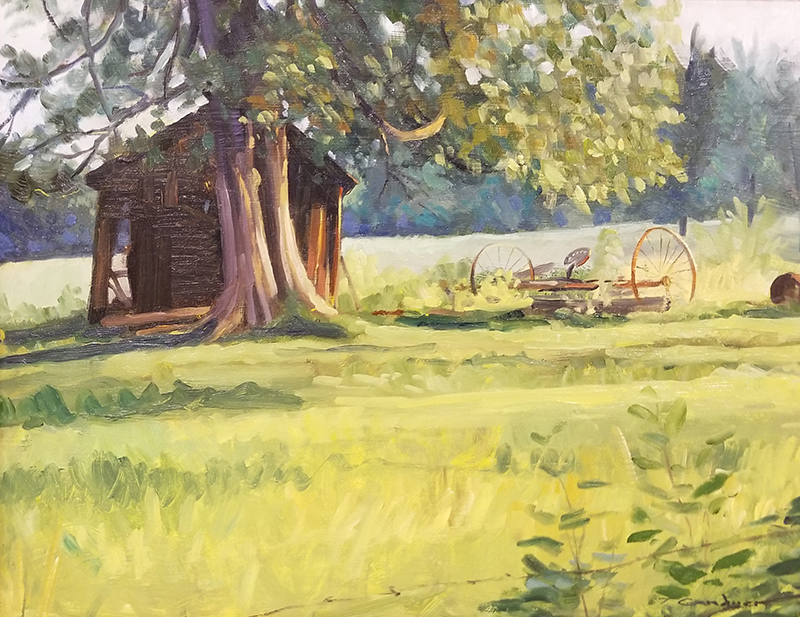 "Tom Gardner ""Leaning Shed"" 14x18 oil $1,200."
