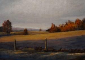 "Lin Gardner ""Autumn Morning at the Farm"" 5x7 oil $250."