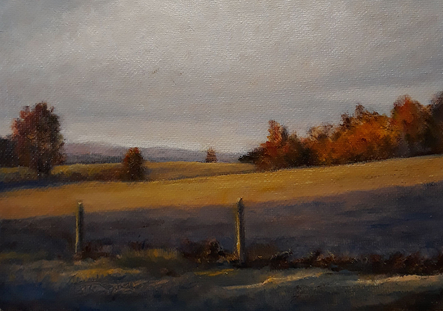 "Lin Gardner ""Autumn Morning at the Farm"" 5x7 oil $250."