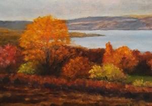 "Lin Gardner ""Keuka Autumn Study"" 5x7 oil $250. SOLD"