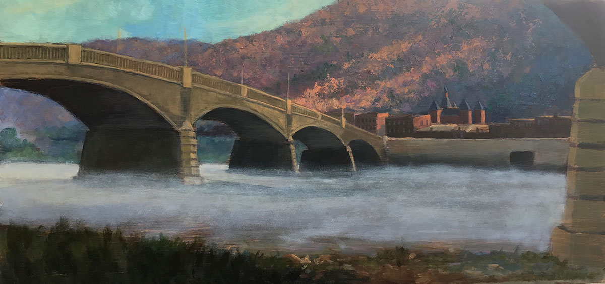 "Tom Gardner ""River Fog"" 12x24 oil $1,400."