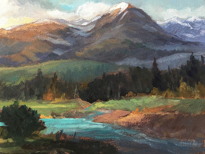 "Tom Gardner ""River in the Rockies"" 11x14 oil $975."