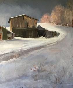 "Tom Gardner ""Sheds in Snow"" 15x12 oil $1,050."