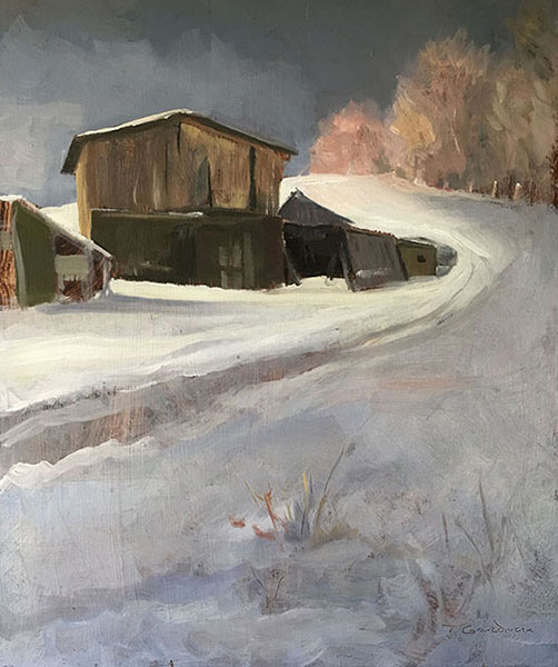 "Tom Gardner ""Sheds in Snow"" 15x12 oil $1,050."