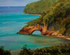 """Tom Gardner """"St. Lucia Divers"""" 24x30 oil $2,200."""