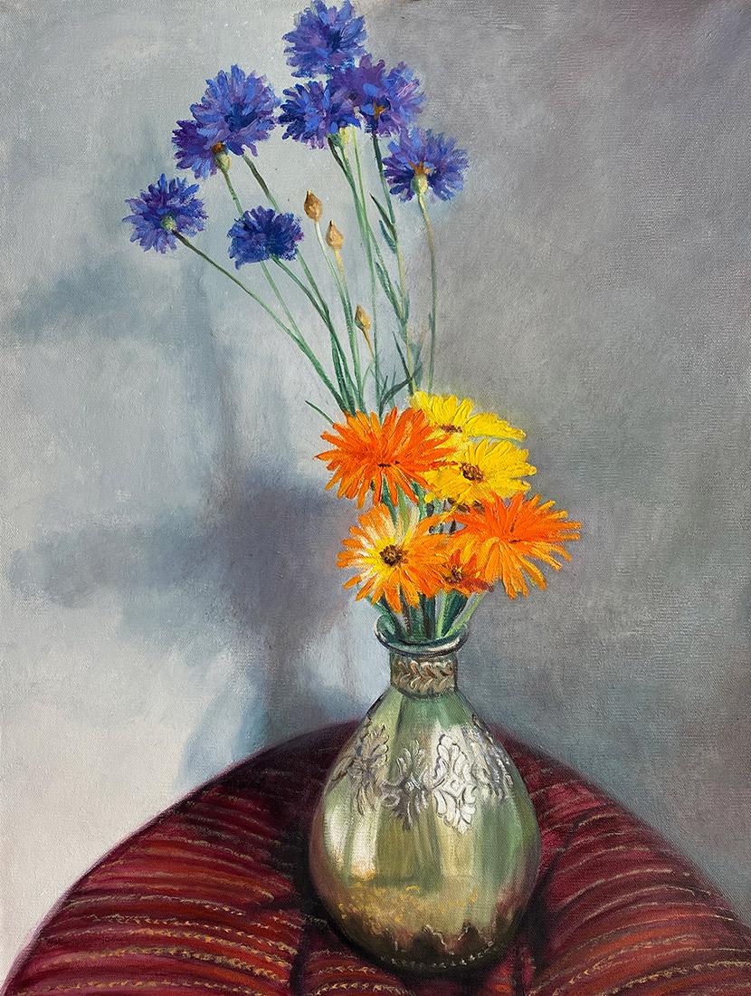 "Tom Gardner ""Study In Purple and Orange"" 24x18 oil $1,800."