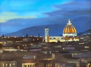 """Tom Gardner """"The Duomo at Night"""" 5x7 oil $275."""