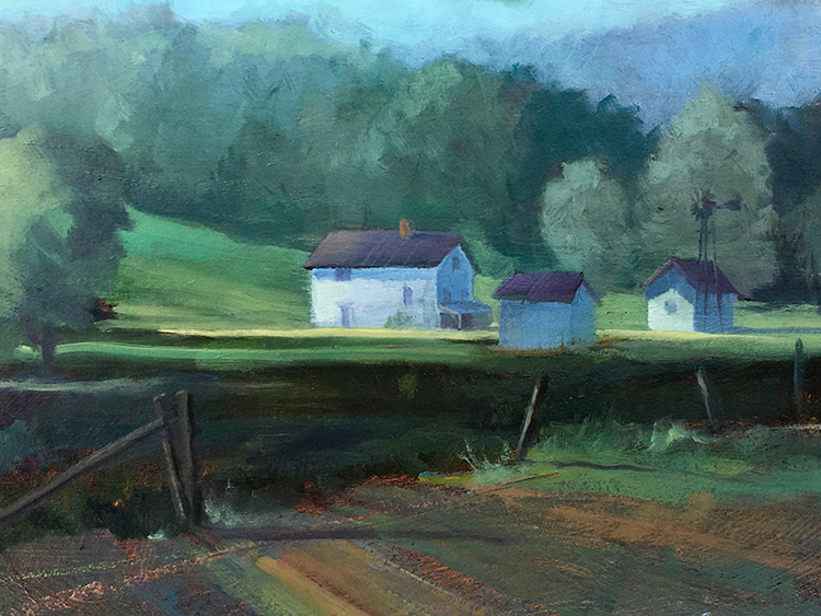 "Tom Gardner ""White Farm"" 8x10 oil $850."