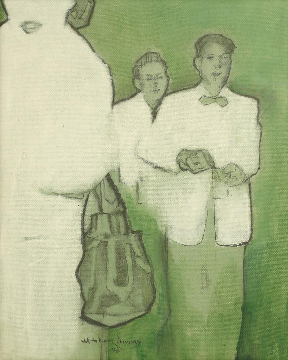 "Edd Tokarz Harnas ""Dutch Courage"" 10x8 pencil/acrylic on gallery wrapped canvas $170."