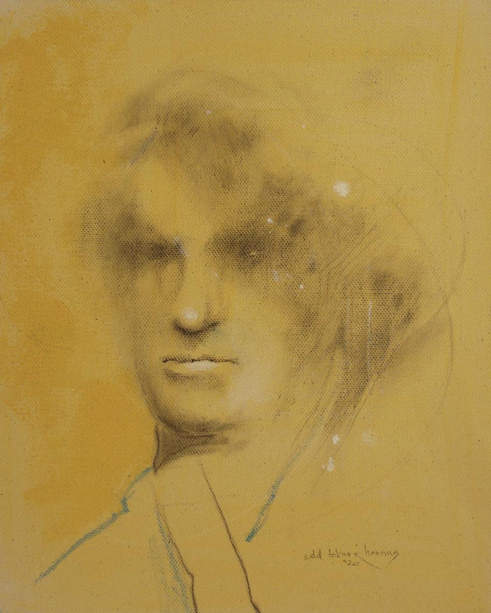 "Edd Tokarz Harnas ""Man of Mystery"" 10x8 pencil/acrylic on gallery wrapped canvas $170."