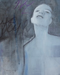 "Edd Tokarz Harnas ""Third Person Effect"" 10x8 pencil/acrylic on gallery wrapped canvas $170."