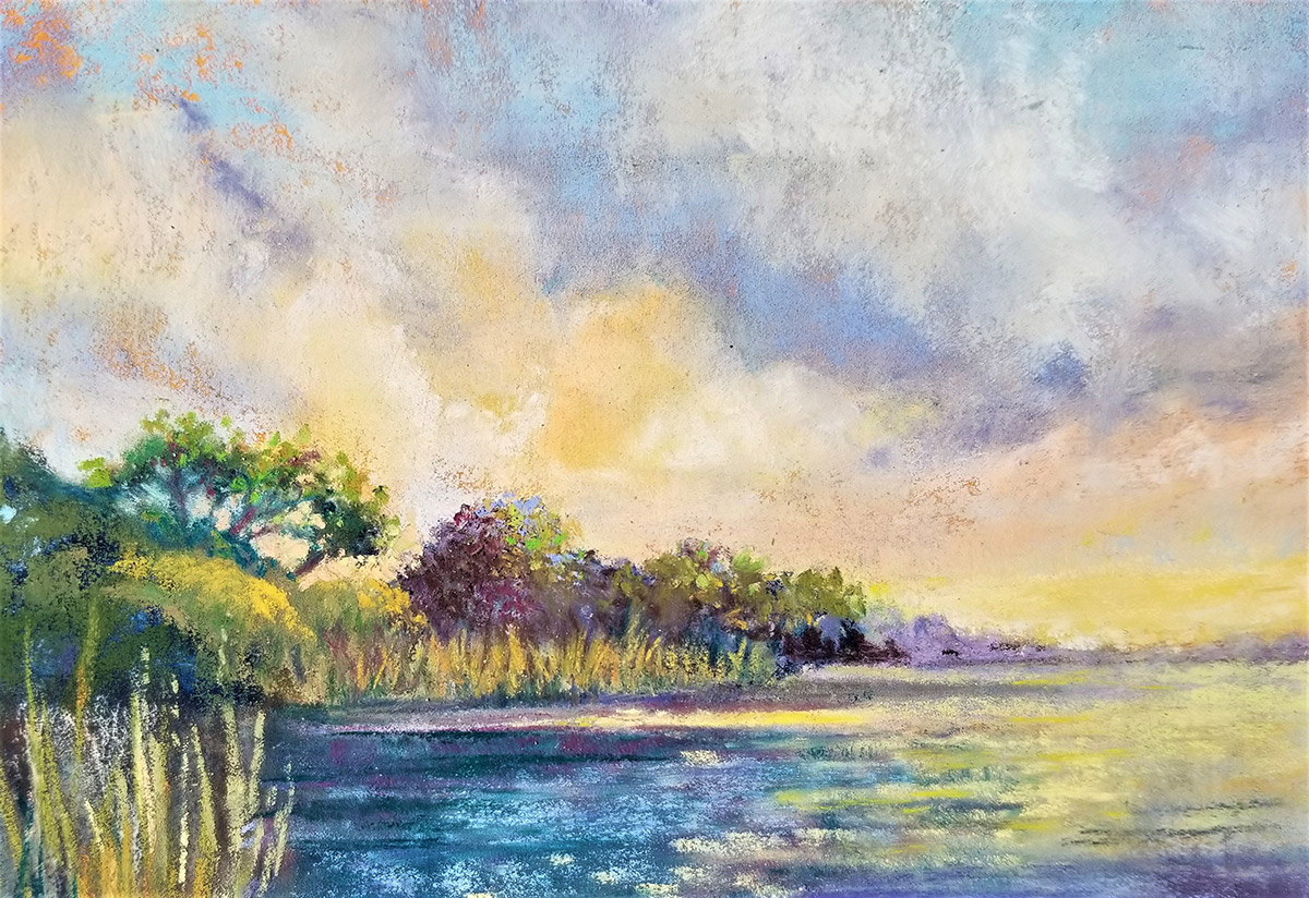 """Linda Hansee """"Evening Sky with Reflection"""" 3.5x5.5 pastel $195."""